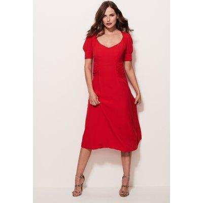 Red V-Neck Tea Dress