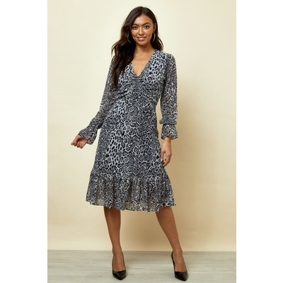 Snow Leopard Print Fit & Flare Dress