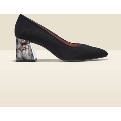 Georgie Black Suede Perspex Heel Court Shoe