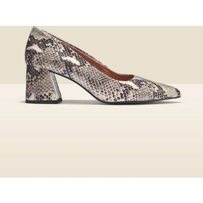 Georgie Snake Leather Block Heel Court Shoe