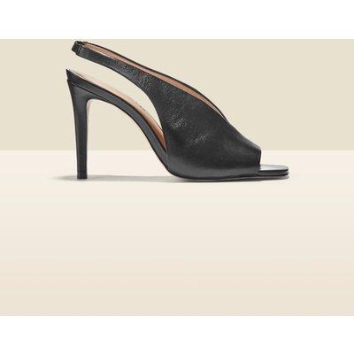 Nova Black Leather V Front Slingback Heel