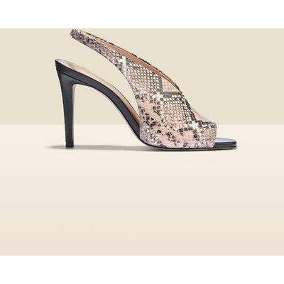 Nova Snake Leather V Front Slingback Heel