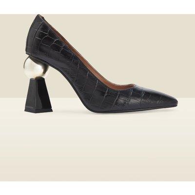 Coco Black Croc Leather Geometric Block Heel Court Shoe