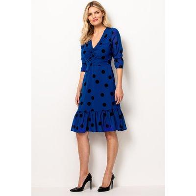 Blue & Black Spot Fit & Flare Dress