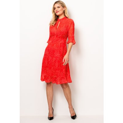 Red & White Polka Dot Fit & Flare Ruffle Dress