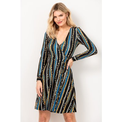 Black & Blue Chain Print Faux Wrap Slinky Dress