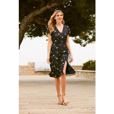 Navy Cherry Print Tea Dress