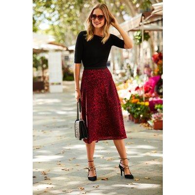 Red Leopard Print Midi Skirt