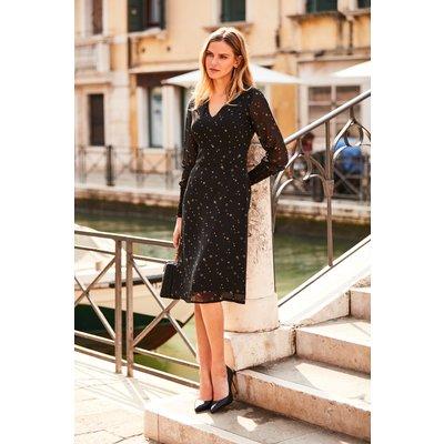Black Circle & Star Print Fit & Flare Dress