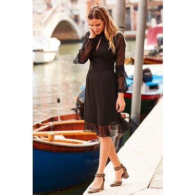 Black Fit & Flare Ruffle Dress