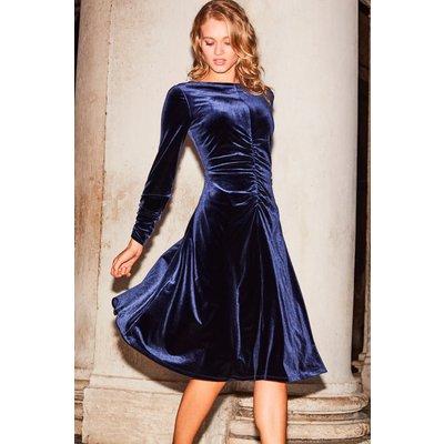 Midnight Blue Ruched Detail Velvet Dress