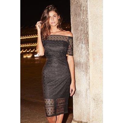 Black Lace Bardot Pencil Dress