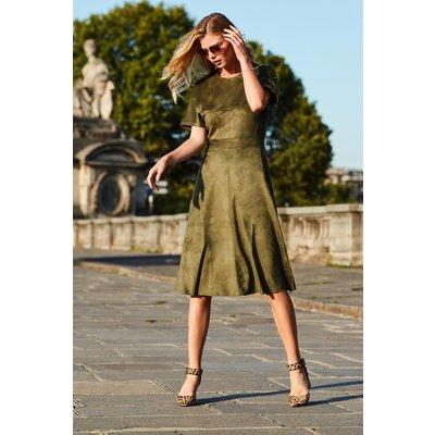 Khaki Suedette Fit & Flare Dress