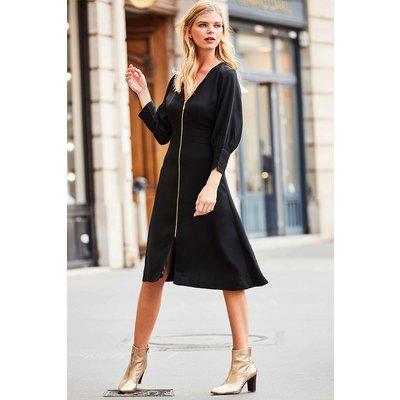 Black Zip Front Fit & Flare Dress