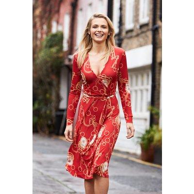 Red Chain Print Faux Wrap Slinky Dress