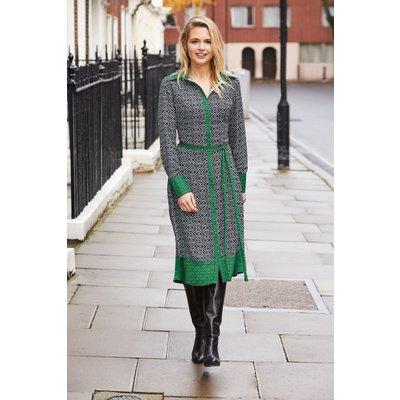 Black & Green Deco Print Shirt Dress