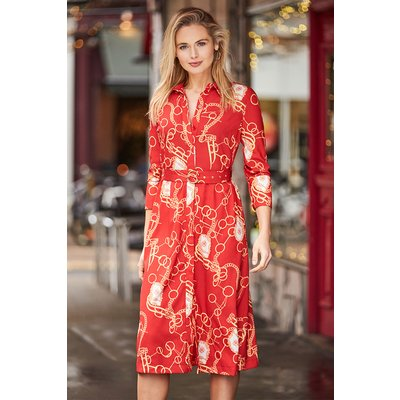 Red Chain Print Belted Shirt Dress