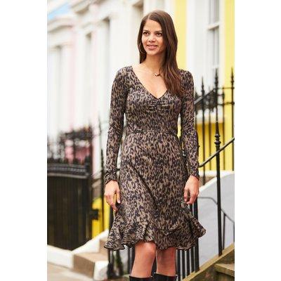 Khaki Leopard Print Slinky Dress