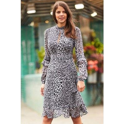 Snow Leopard Print Fit & Flare Ruffle Dress