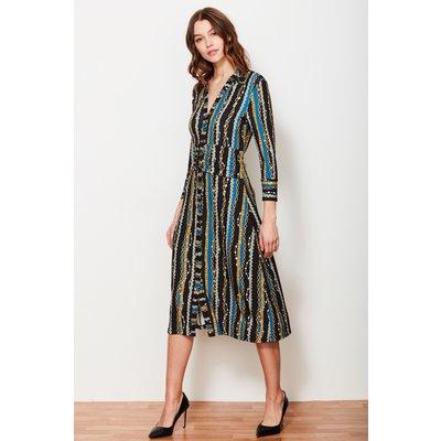 Black & Blue Chain Print Shirt Dress