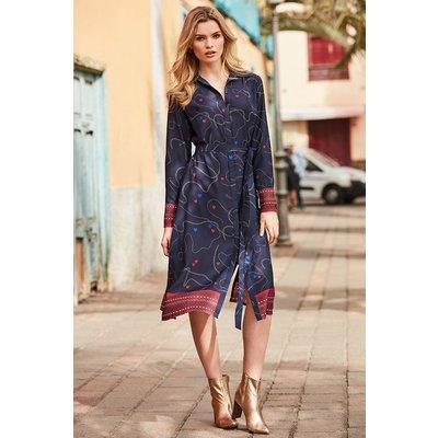 Navy Blue Chain & Charm Print Shirt Dress