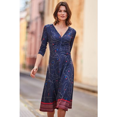Navy Blue Chain & Charm Print Slinky Midi Dress