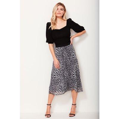 Snow Leopard Print Midi Skirt
