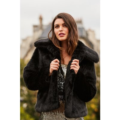 Black Faux Fur Cropped Jacket