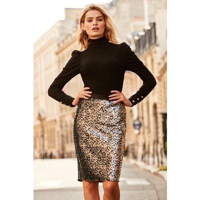 Silver Sequin Leopard Print Skirt