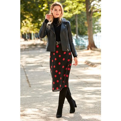 Black & Red Spot Print Midi Skirt
