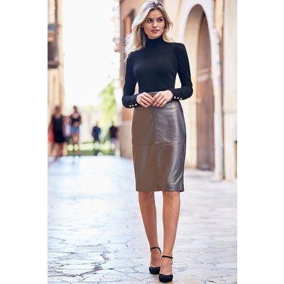 Pewter Metallic Leather Panelled Pencil Skirt