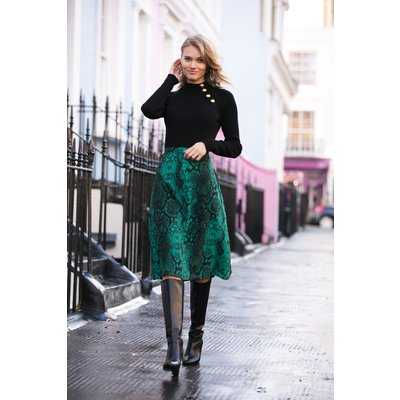 Green Snake Print Midi Skirt