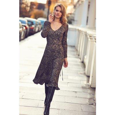 Khaki Leopard Print Slinky Midi Dress