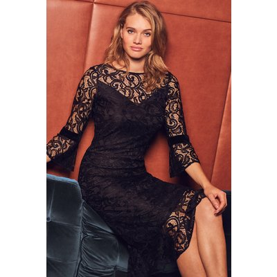 Black Lace Ruffle Hem Dress