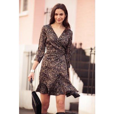 Khaki Leopard Print Wrap Dress