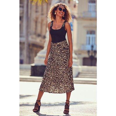Leopard Print Split Hem Detail Skirt