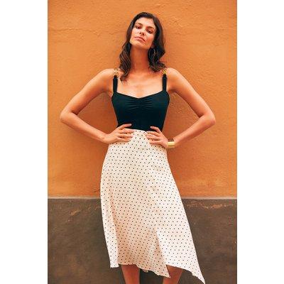 White & Navy Spot Print Side Split Skirt