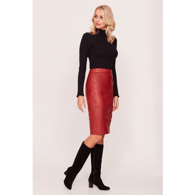 Brick Red Leather Panelled Skirt