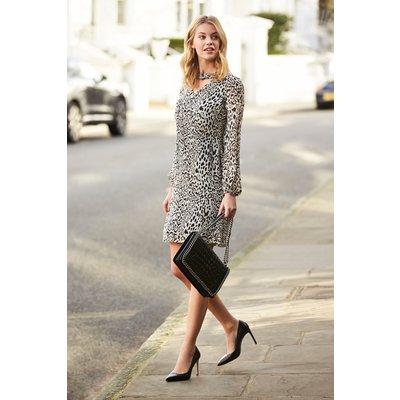 Leopard Print Long Sleeve Shift Dress