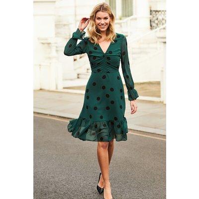 Green & Black Spot Fit & Flare Dress
