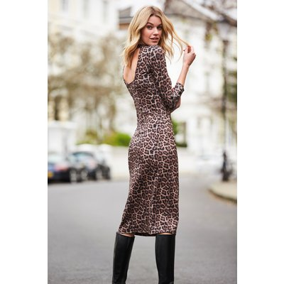 Leopard Print Open Back Fitted Dress