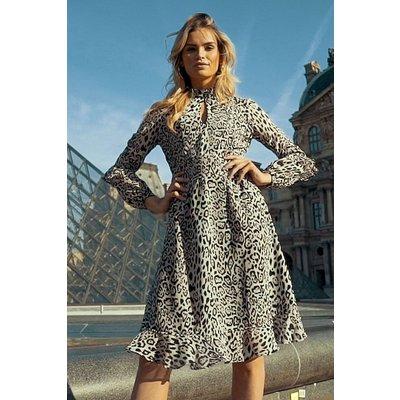 Leopard Print Fit & Flare Ruffle Dress