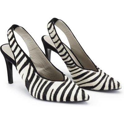 Zebra Print Leather Slingback Shoe