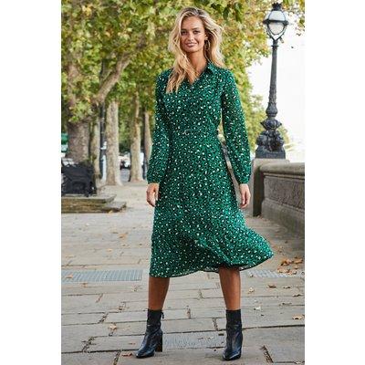 Green Leopard Print Tiered Shirt Dress