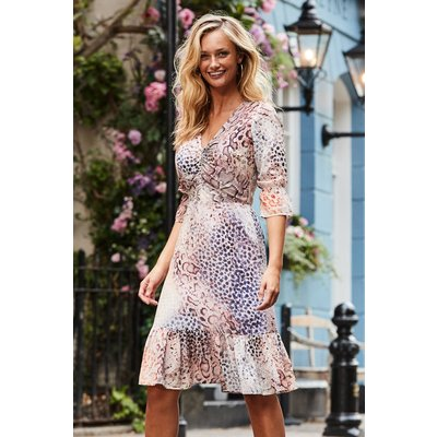 Pink Ombre Animal Print Fit & Flare Dress