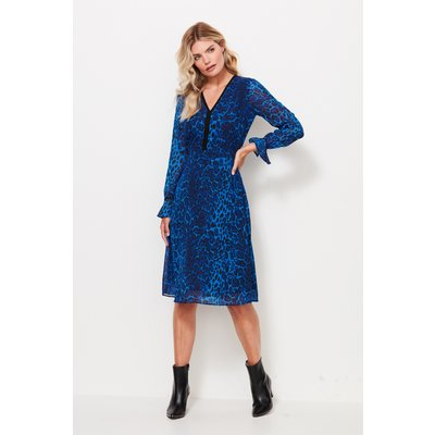 Sapphire Blue Leopard Print V Neck Dress