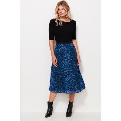 Blue Leopard Print Midi Skirt