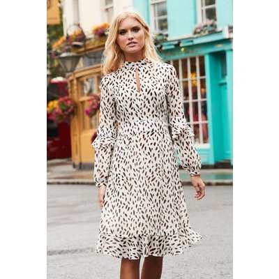 White & Black Fleck Print Fit & Flare Ruffle Dress