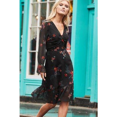 Black & Red Floral Print Fit & Flare Dress