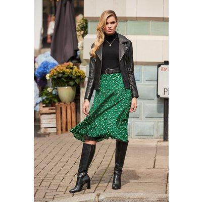 Green Leopard Print A Line Midi Skirt